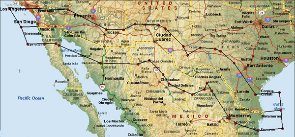 U.S. MAKES CROSS-BORDER MEXICAN TRUCKS PERMANENT on future of the united states map, mexico city map, gulf of mexico map, us corruption map, new mexico colorado border map, atlantic ocean map, walt disney hall map, usa map, us state borders map, matamoros mexico map, us mexico exchange rate, mexico border crossings map, baja california map, us underground tunnel map, us immigration map, us mexico map united states, us golf map, us and mexico map, us economics map, mexico border towns map,